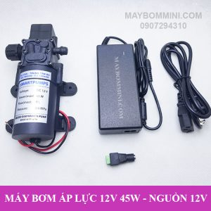 May Bom Mini Ap Luc Kem Adapter 12v