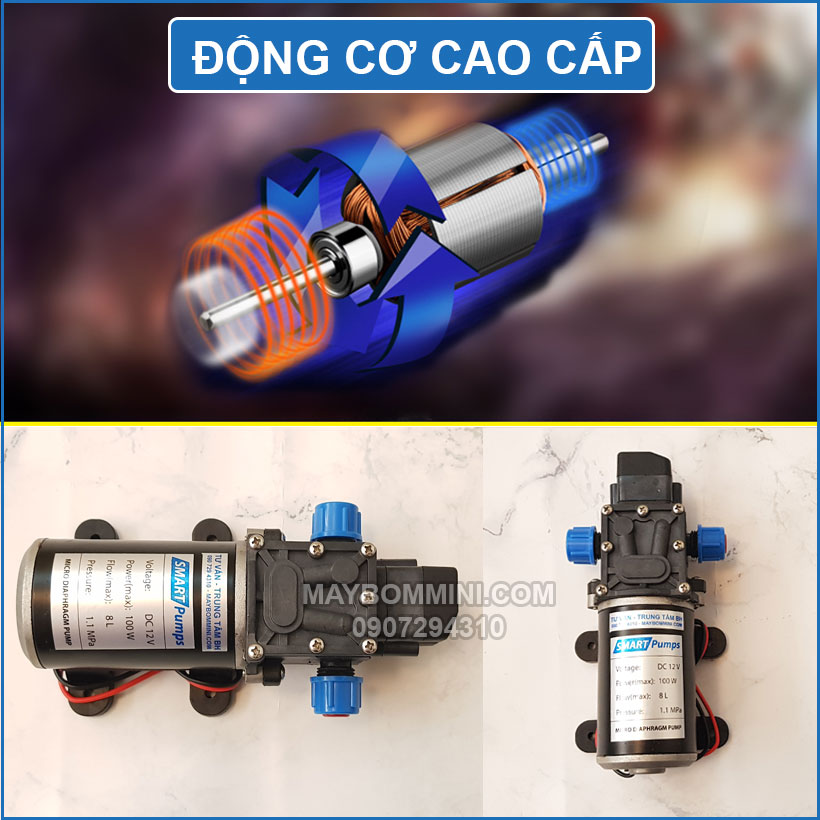 Dong Co May Bom Mini Ap Luc 12v 100w