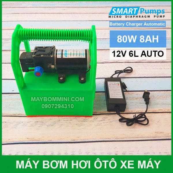 May Bom Mini Ap Luc 12v 80W Ac Quy 8Ah
