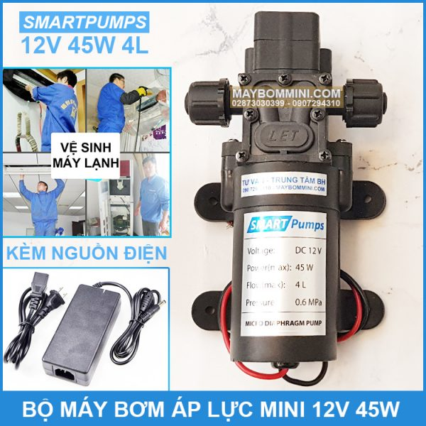 May Bom Nuoc Mini 12v 45W Kem Nguon Dien